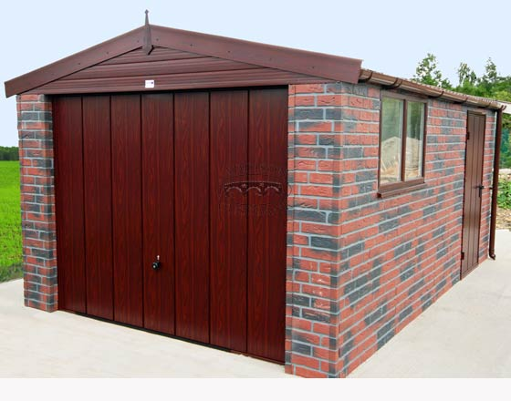 Hanson brick clad apex single garage for Brick garages prices