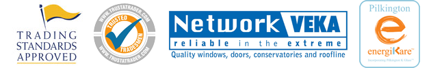 Logos About Us - Trading Standards Approved, Network Veka & Pilkington Energicare
